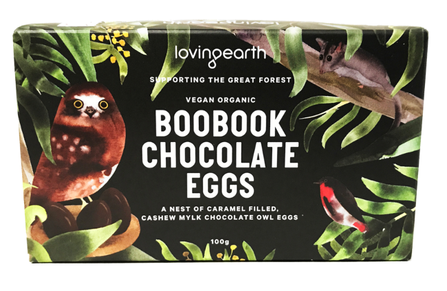 Loving Earth Boobook Chocolate Eggs   Vegan   Organic