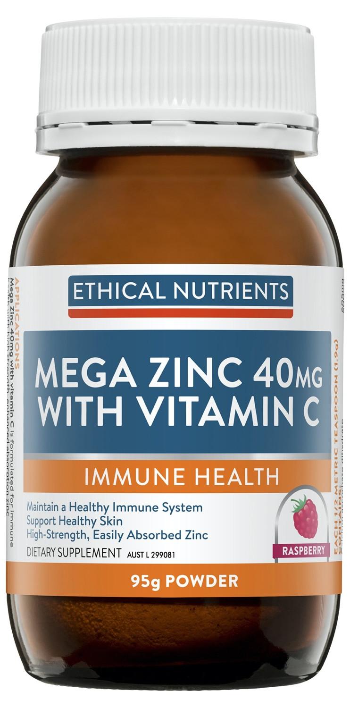 Ethical Nutrients Mega Zinc 40mg Raspberry Powder