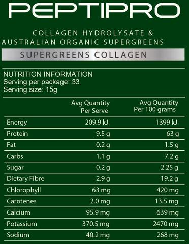 GelPro Peptipro SuperGreens Collagen nutritional information