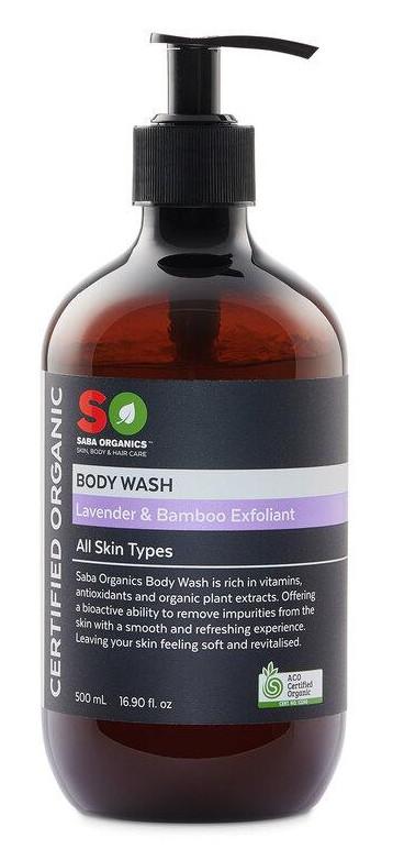 Saba Organics Body Wash Lavender & Bamboo Exfoliant