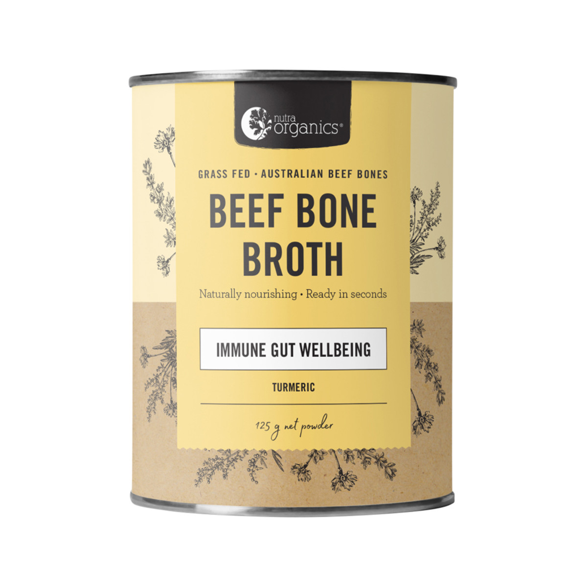 Nutra Organics Beef Bone Broth Powder - Turmeric